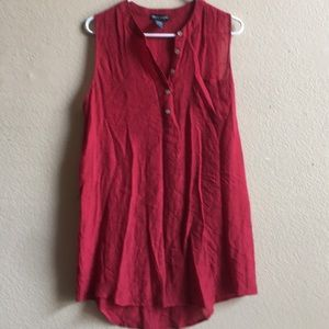Red sleeveless light summer shirt